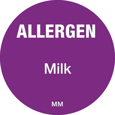 Contains Milk Food Allergen Label - Catering 25mm Hygiene - 1000 Stickers Roll