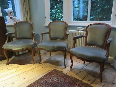 4 Fabulous Antique French Style Classic Carved Wood Chairs / Armchairs