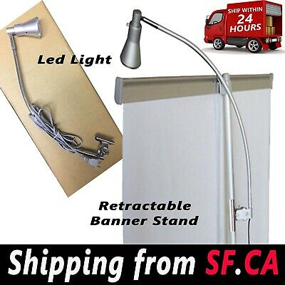 Display Light Banner Stand Lamp Retractable Roll Up Trade Show Booth(2 in 1 box)