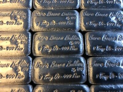 1 oz Hand Poured 999 Silver Bullion Bar by YPS (Bare Bones Bullion) Version 2