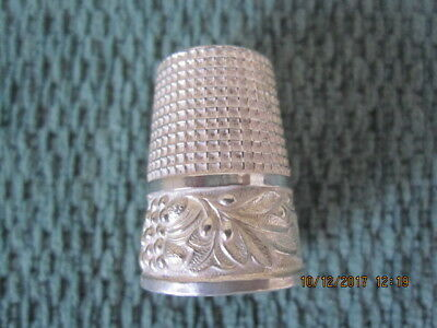Vintage White Metal Thimble With Pattern Of Flowers Around It