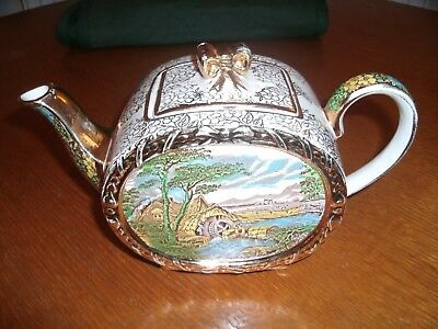 "Beautiful Vintage ""Sadler"" Barrel Tea Pot, ""The Old Mill"", Gold Chintz to body"