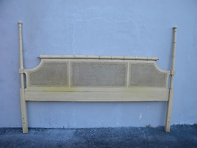 Hollywood Regency Mid Century Painted Caned Faux Bamboo King Size Headboard 6136
