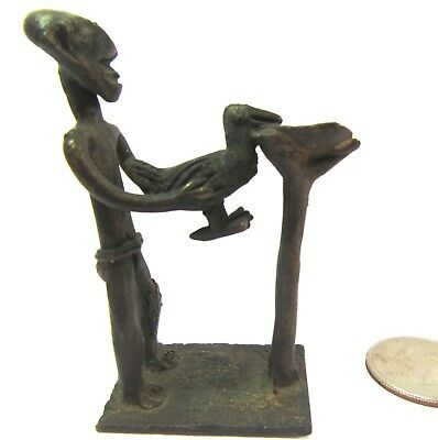 "Akan Ashanti Gold Weight African Bronze 19th c. ""Lost Wax"" Man slaughtering bird"