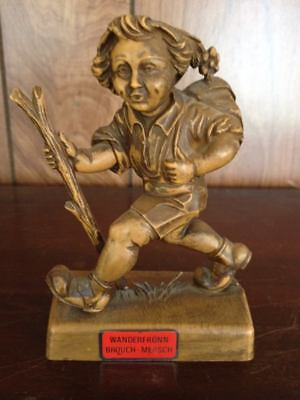vintage wooden carved figure from Luxumbourg Boy Wanderer Rare