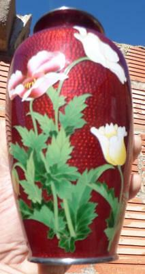 Antique Chinese red Fish Scale enamel Cloisonne floral bamboo bird flower vase
