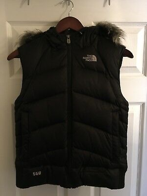 GENTLY USED! Womens The North Face Black Hooded Vest Size S
