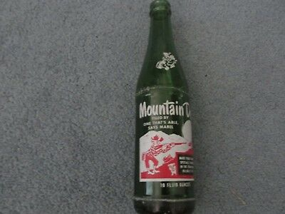 Vintage MOUNTAIN DEW Bottle - 10 oz green glass Soda Pop Collectible