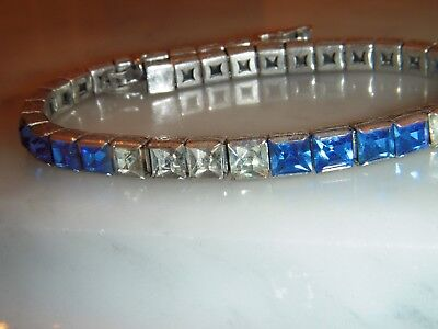 A Stunning Silver Art Deco Blue And White Baguette Stone Bracelet