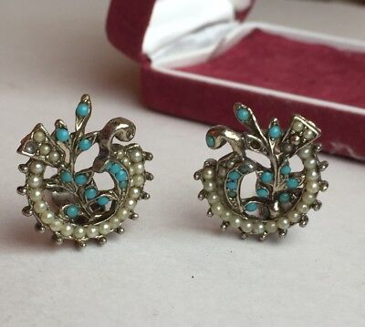 Vintage Art Nouveau Style Faux Turquoise Seed Pearl And Silver Tone Earrings