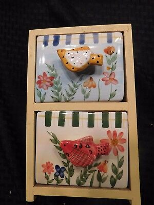 Jewelry Chest 2 Ceramic Drawers Wood Handmade Yellow Birds