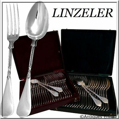 Linzeler French Sterling Silver Flatware Set 48 pc w/chests Neo Classical