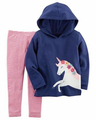 NEW Carter's 2 Piece Unicorn Hooded Top & Leggings Set NWT 3T 4T 5T 6 7 8 Girls