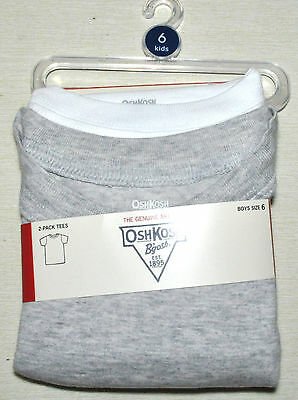 90% OFF BOYS Oshkosh B'Gosh Size 6 Undershirt 2-Pack White Gray Cotton T Shirts