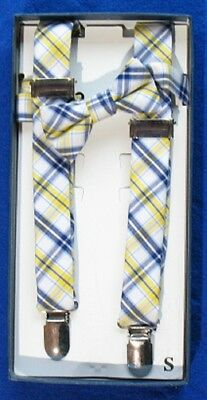 Spring Notion Baby Boy Cotton Suspender and Bow Tie Gift Set- Yellow Blue -Small