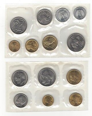 Greece 1973 Eight Piece Coin Set and 1976 Six 6 Piece Coin Set Greek Coins