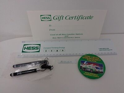 Hess Oil Company 7 Pc Lot Hess Gasoline Energy Ruler Pens 96 Button Certificate