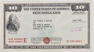 $10 War Savings Bond Series E July 1945 Uncancelled Morgenthau Schwan 231a1 Rare