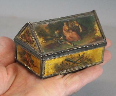 Antique Early 17thC Miniature Wood & Silver Box w/ Detailed Miniature Paintings