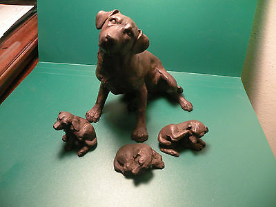 Labador Retriever Family Dog w 3 puppies Lab dog collectible ? wood Vintage K56