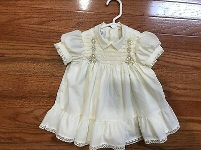 Vintage Polly Flinders Smocked Baby Dress Size 24 mo.Cream Color Great For Dolls