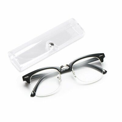 No Line Clear Lens Reading Glasses Retro Metal Square Frame Anti Glare Unisex