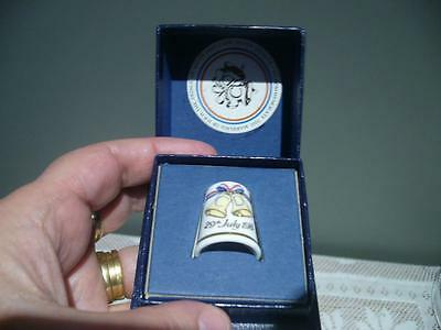 Royal Worcester Charles & Diana Wedding Thimble - Boxed - Vintage England - Vgc