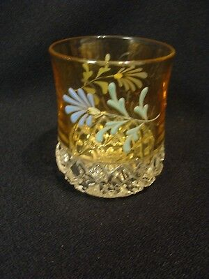 EAPG   Unknown Amber Stained Decorated Tumbler