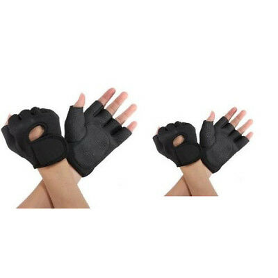 Sport Cycling Fitness GYM Weightlifting Exercise Half Finger Gloves BLACK US