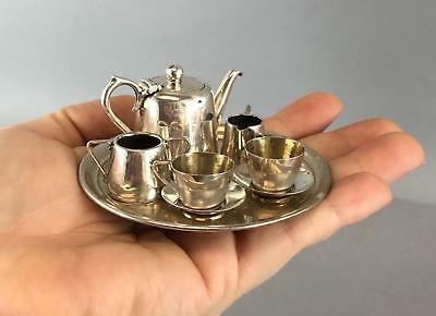 Antique 1902, Miniature Birmingham & Sheffield Sterling Silver, Tea Set