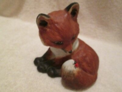 """Outfoxed by Deborah Bell Jarrett Red Fox with Lady Bug on Tail FP NO BOX 4"""" tall"""