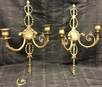 """Pair Antique 25"""" French Gilt Bronze Brass Wall Candle Sconces LOUIS XVI Style"""