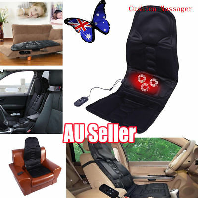 Heat Back Massage Chair Car Home Seat Cushion Massager Neck Pain Pad Heater ON