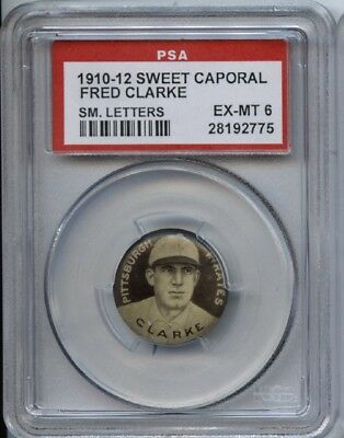 Fred Clarke HOF 1910-12 Sweet Caporal Pins P2 - Small Letters - PSA 6