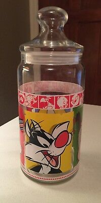 1999 Looney Tunes/Merrie Melodies Large Glass Cookie Candy Jar ~ Warner Brothers