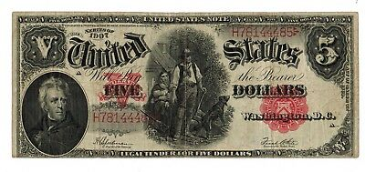 1907 U.S. $5 LARGE SIZE RED SEAL LEGAL TENDER NOTE #FR91 (gdc)