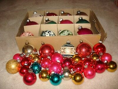 Vintage Glass Christmas Tree Ornaments - Shiny Brite & Made In U.s.a. - Lot