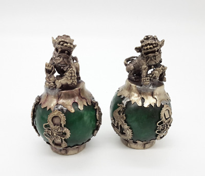 chinese old Tibetan Jade & Silver Hand-carved A Pair of Lion Dragon Statue
