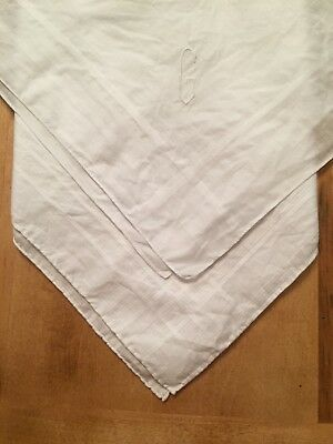 Lot of 2 Vintage 100% Cotton White Linen SCARF HANDKERCHIEFS Square Embroidered