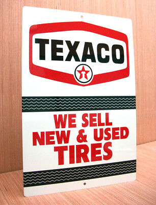Texaco We Sell Used Tires Vintage Style Advertising Sign Gas Station Oil Garage