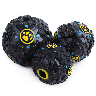 Pet Dog Treats Ball Interactive Food Puzzle Toy Puppy Chew Squeaky Sound Snack