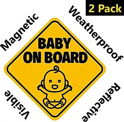 NEW DESIGN: Reflective and Magnetic Baby on Board Sign for Your Car or Auto (...