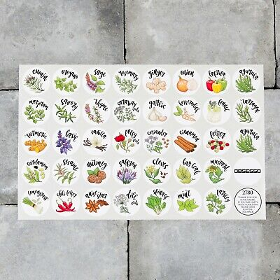 38 x Spice / Herb Storage Jar Labels Stickers Decals - 30mm or 40mm Roundels