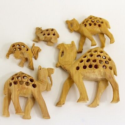 5 India Jali Camels See Through Hand Carved Wood Baby Inside Nativity Creche