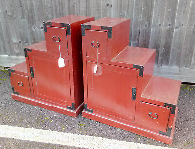 Pair Of Red Chinese Stepped Chests With Drawers And Cupboards Both Sides