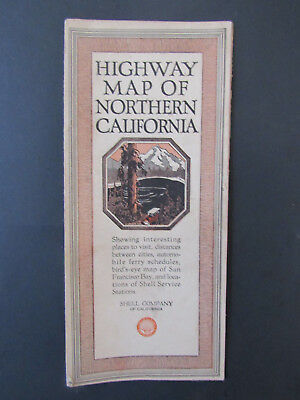 Rare Beautiful 1926 Shell Gasoline Oil Highway Map of Northern California