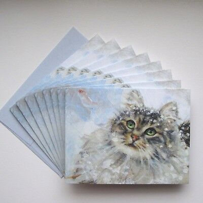 Maine Coon Cat CHRISTMAS CARDS 16 Cards & Blue Envs. Sweet Green-Eyed Snow Kitty