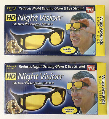 2 X  Hd Night Vision - Wrap Arounds Fit Over Prescription Glasses  As Seen On Tv