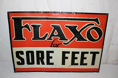 "Vintage 1940's Flaxo For Sore Feet Drug Medicine 28"" Embossed Metal Sign"