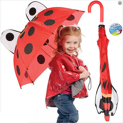 Wild Lady Bug UMBRELLA For Kids - Red Ladybug Rain Gear Accessory for children